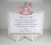 Targhetta con cavallo a dondolo rosa - regalo bomboniera madrina padrino Battesimo