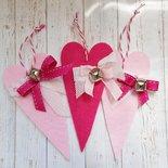 3 cuori in gradazioni di rosa in feltro