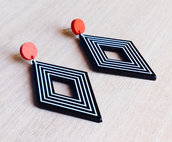 Orecchini pendenti vintage rombi bianco neri, orecchini geometrici, orecchini astratti