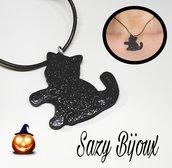 Ciondolo HALLOWEEN CAT: ciondolo Gatto nero glitterato in resina