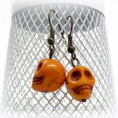 Orecchini con teschio arancione