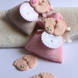 piedini confezionati con sacchettino bomboniere complete piedini rosa