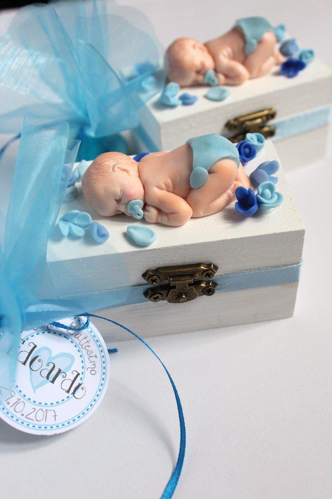 bomboniera elegante battesimo / nascita bimbo che dorme