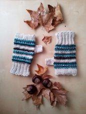 guanti senza dita a righe fatti a mano - mezzi guanti ai ferri - manicotti scalda polsi in lana ragazza grigio verde nero