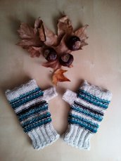 mezzi guanti in lana fatti a mano - guanti senza dita a righe tricot - manicotti manopole in lana ragazza donna