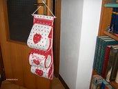 Portarotoli da bagno, tutti realizzati a interamente  a mano con stoffa di cotone trapuntina