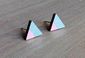 Orecchini Triangoli rosa cipria e argento, orecchini a lobo, orecchini in legno, orecchini geometrici, orecchini minimalisti, orecchini astratti