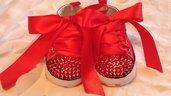 scarpe con strass e lacci in raso colore rossi