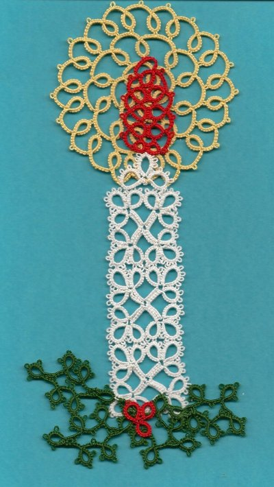 CHIACCHIERINO - TATTING - FRIVOLITE' - CHRISTMAS CANDLE