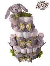 Torta di pannolini Pampers, tg. 3, 4-9kg, con scarpine e dolce doudou coniglietto, verde