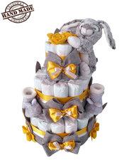 Torta di pannolini Pampers, tg. 3, 4-9kg, con scarpine e dolce doudou coniglietto, giallo