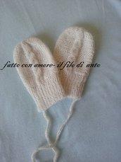 Muffole /guanti in lana alpaca con trecce