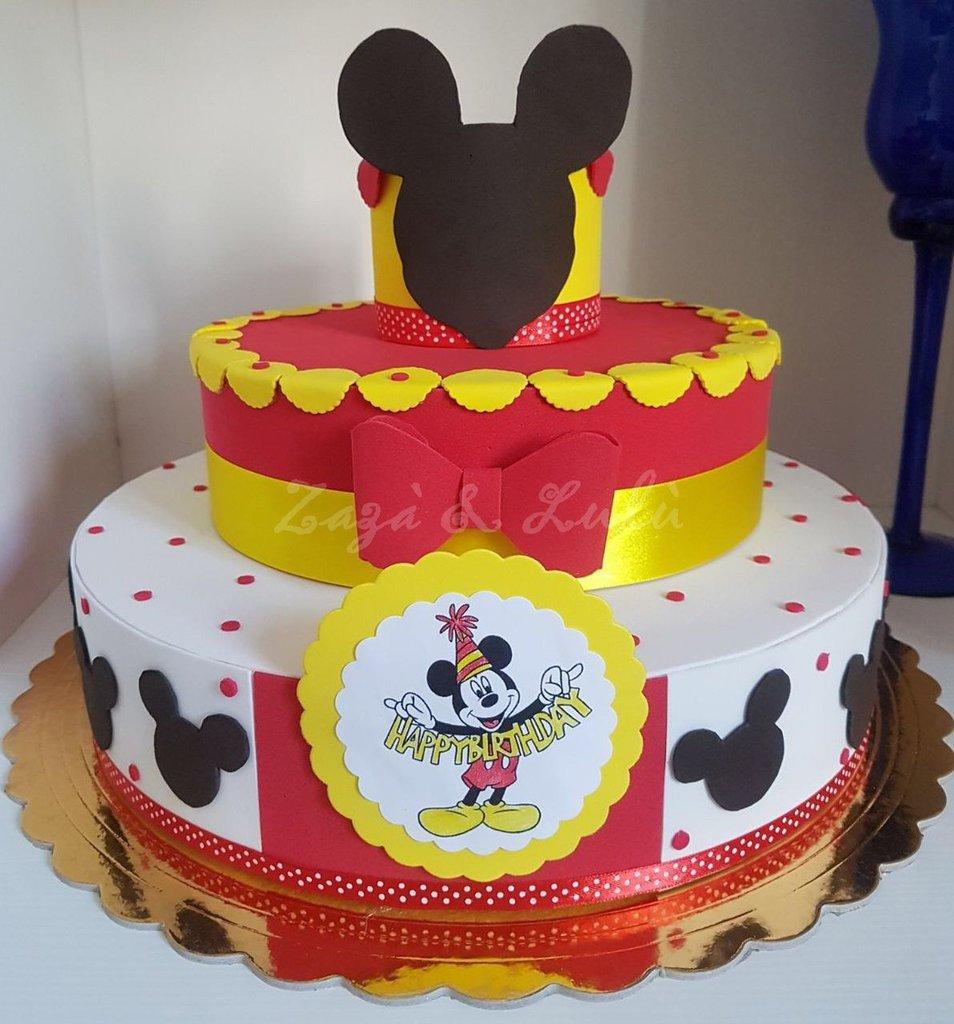 Torta Finta Polistirolo Compleanno Party Topolino Bimbo Bimba Decorazioni Feste