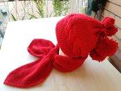 Cappello con pon pon e sciarpa bimbo/a ai ferri, cappello sciarpa invernale, cappello bimbo di lana, cappello sciarpa invernale
