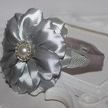 Cerchietto Grande fiore  per le Bambine Fiore Kanzashi argento Accessori per bambini