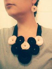 girocollo + orecchini con roselline in feltro