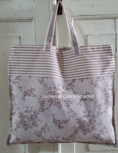 Borsa per la spesa-shopping bag toile de jouy