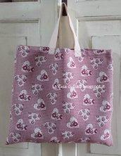 Borsa per la spesa-shopping bag cuori e fiori