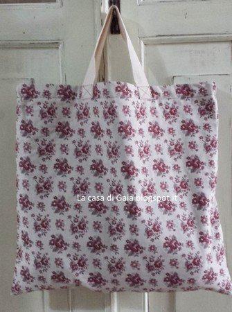 Borsa per la spesa-shopping bag in gobelin a roselline