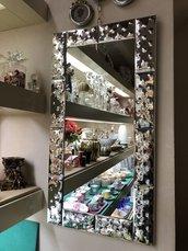 Specchio, in vetro di Murano e argento puro al 100%, e ricambi come rosette , fiori, foglie, chiodi in vetro soffiato di Murano
