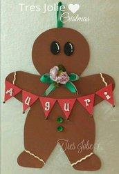 ghirlanda 50 cm fuoriporta decorazioni natalizie gingerbread omino addobbi porta