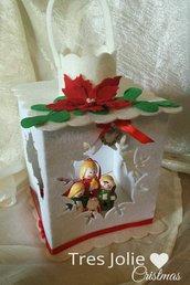 lanterna feltro con sacra famiglia natale centrotavola decorazioni addobbi natal