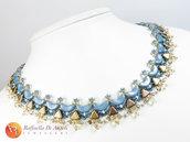 Collana blu e crema Sibilla