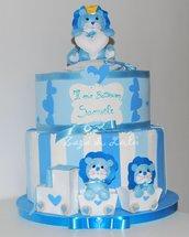 Torta Finta Polistirolo Compleanno Party Battesimo Bimbo Bimba Decorazioni Feste