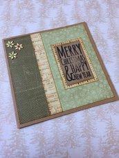 Biglietto Natale quadrato vintage merry Christmas