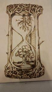 quadro realizzato con il pirografo - la clessidra della vita