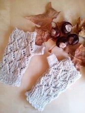 guanti senza dita mezzi guanti lana manicotti scalda mani fatti a mano pizzo effetto rombetti grigio chiaro