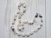 Collana artigianale in Pietra di Luna, Cristallo di Rocca, Tanzanite e Perla. Collana rosario in pietra di luna. Fatto a mano. Gioiello unico. Spedizione gratuita