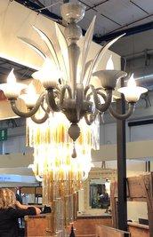 Tazza, ricambio per lampadari di Venini e non, in vetro soffiato di Murano, color opalino
