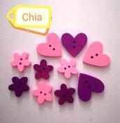 10 bottoni legno cuori e fiori