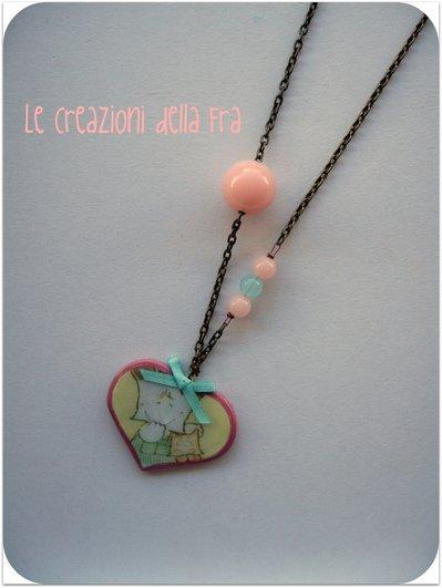 Collana Spank-cuore rosa