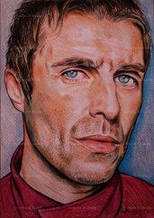 Ritratto liam Gallagher pastelli su cartoncino disegnato a mano