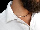 Collana ragazzo in acciaio inossidabile, catena maglia rettangolare squadrata o veneziana, fatto a mano. Collana uomo acciaio. Collana sportiva