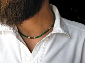 Collana artigianale uomo con pietre di Onice Verde e Pirite e pepite in Argento puro. collana tribale uomo. Collana pietre verdi. Fatto a mano, made in italy
