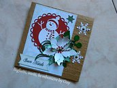 Card / Natale / Pettirosso / Pupazzo di neve / Stella di Natale.