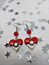 Orecchini Pockeball Pokemon cuore in fimo