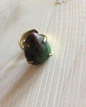 Anello ottone con pietra Zoisite