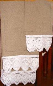 Coppia di asciugamani realizzati completamente a mano in Lino e Cotone