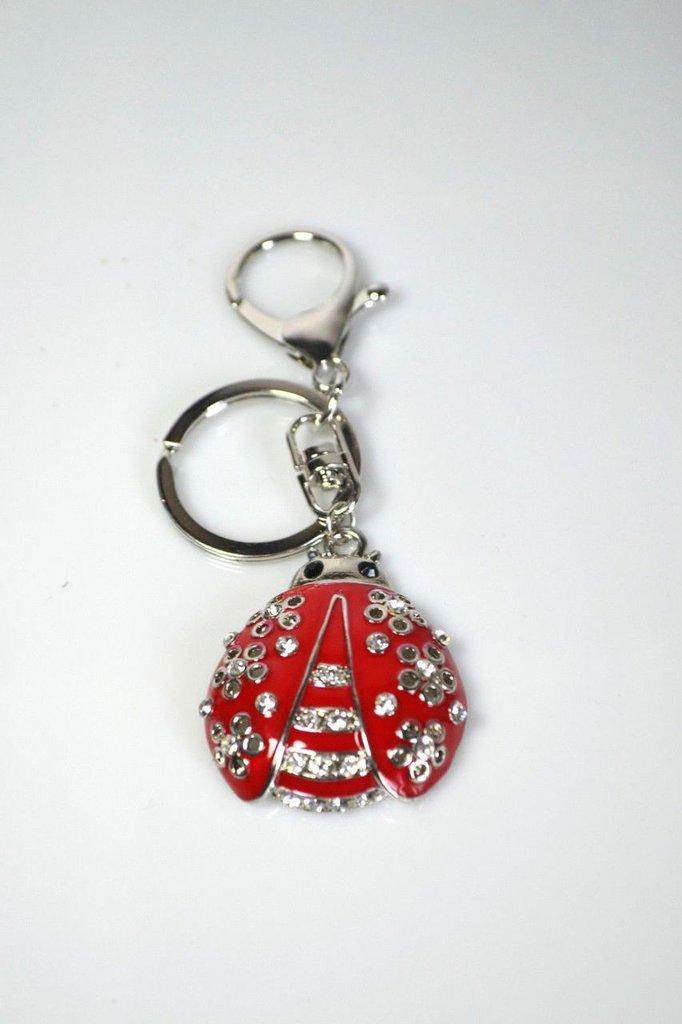 portachiavi donna chiave ciondolo coccinella portafortuna rosso pendolo accessori portachiave