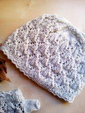 cappello berretto lana donna uncinetto fatto a mano pizzo effetto rombetti grigio chiaro