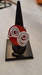 Anello regolabile in alluminio con bottone in madreperla