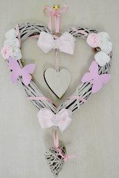 fiocco nascita rosa cuore grande in legno vimini da personalizzare come preferite con nome neonata da incidere sul legno per neonata shabby chic