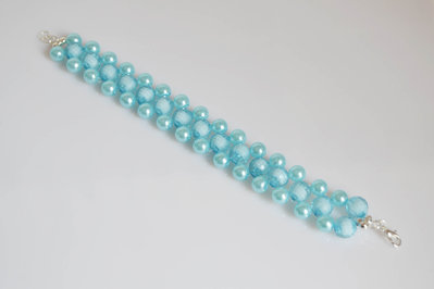 bracciale donna bigiotteria perla celeste accessori moda chiusura gancio