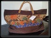 """Borsa """"Tote Bag"""" marrone con applicazione tessuto indiano"""