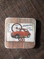"""set 6 sottobicchieri """"Fiat 500"""""""
