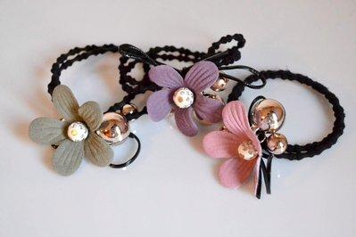 3 elastico fermacoda fermacapelli capelli ciondolo a forma di fiore in panno con perla strass per bimba ragazza donna